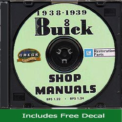 1938 1939 Buick Chassis Shop Repair Service Manual - All Models on CD 38 39 (With Decal)