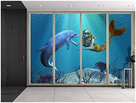 3D Digital Illustration of a Mermaid and Dolphin Swimming Over Coral Reefs Viewed from Sliding Door Creative Wall Mural Peel and Stick Wallpaper