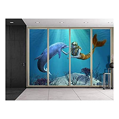 Made For You, Unbelievable Picture, 3D Digital Illustration of a Mermaid and Dolphin Swimming Over Coral Reefs Viewed from Sliding Door Creative Wall Mural Peel and Stick Wallpaper