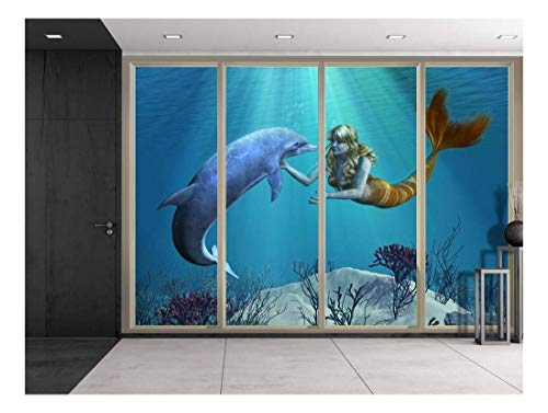 - wall26 - 3D Digital Illustration of a Mermaid and Dolphin Swimming Over Coral Reefs Viewed from Sliding Door - Creative Wall Mural, Peel and Stick Wallpaper, Home Decor - 100x144 inches