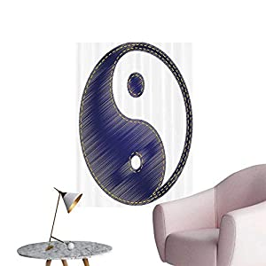 "Wall Decorative Asian Spiritual Yin Yang Figure Textured in Jean Style Harmy and Balance Pair Pictures Wall Art Painting,24""W x 40""L"