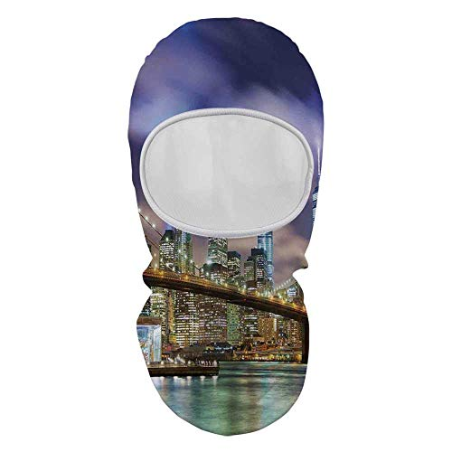 (YOLIYANA Landscape Sunscreen Hood mask,Manhattan Skyline with Brooklyn Bridge and Towers of Lights in NYC United States for Outdoor,8.6