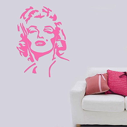Marilyn Monroe Face Removable Wall Sticker Art Home Office Room Mural Decor Vehicle Car Truck Window Bumper Graphic Decal- (6 inch) / (15 cm) Tall MATTE BLACK Color - Marilyn Monroe Face