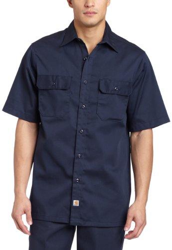 Carhartt Men's Big & Tall Twill Short Sleeve Work Shirt Button Front,Navy,XXXX-Large (Short Sleeve Twill Shirt)