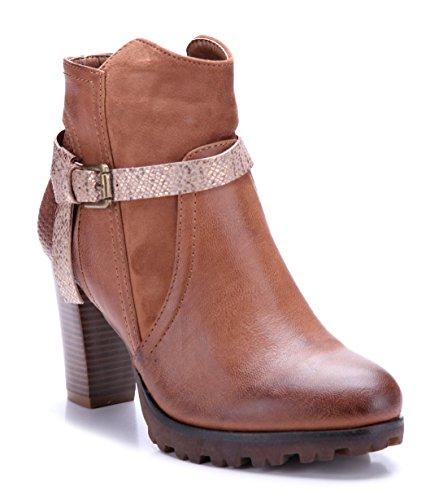 Schuhtempel24 Damen Schuhe Klassische Stiefeletten Stiefel Boots Blockabsatz Schnalle/Used Look 8 cm Camel
