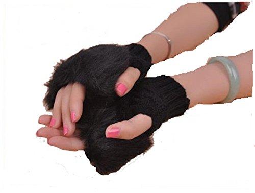 FASHION BOUTIK mitaines gant fausse fourrure noir femme taille unique ado et adulte