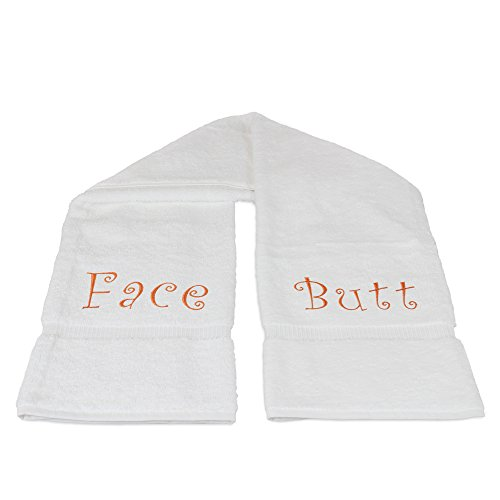 Personalized Monogram Funny Bath Towels with Face and Butt Writing - 100% Turkish Cotton - White