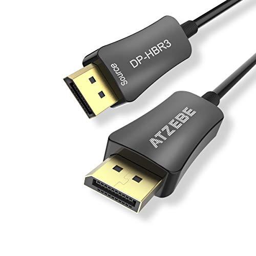 (ATZEBE DP Fiber Cable 50ft, Fiber Optic Displayport 1.4 Cable Support 32.4 Gbps, 8k@60hz, 4K@144Hz, Slim and Flexible Fiber DP to DP Cable )