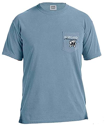 NCAA Maryland Terrapins Adventures Short Sleeve Comfort Color Pocket Tee, Small, IceBlue - Maryland Terps Ncaa Basketball