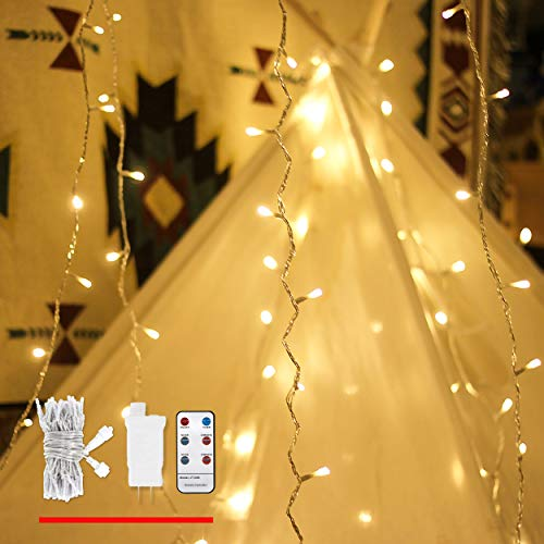 LED String Lights with Remote, 49ft 100 Warm White Light, Decorative Lights for Indoor and Outdoor, Dimmable, Linkable Plug in String Lights with Timer