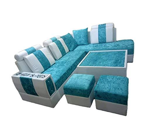 Divya Furniture Hometown Wooden 8 Seater Sofa  Blue