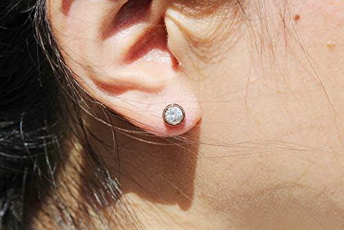pour les femmes les filles, f1327 Findout 14K plaqu/é or rose en titane acier simple collier pendentif diamant boucles doreilles