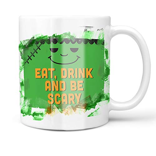 Neonblond 11oz Coffee Mug Eat, Drink and Be Scary Halloween Frankenstein with your Custom Name ()