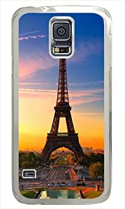 Samsung Galaxy S5 Case and Cover - Eiffel Tower At Sunrise Polycarbonate Hard Case Cover Compatible with Samsung Galaxy S5 White