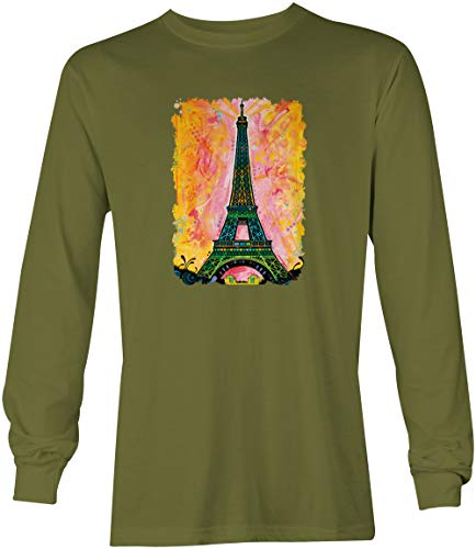 Versailles Olive - Paris Eiffel Tower - France Monument Artistic Unisex Long Sleeve Shirt (Olive, Small)