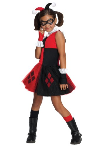 Hero Villain Halloween Costumes (DC Super Villain Collection Harley Quinn Girl's Costume with Tutu Dress, Medium)