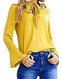 Smile fish Chiffon Self-tie Bowknot Bell Sleeve Long Sleeve Blouse(US0-US12) (XL, Yellow)