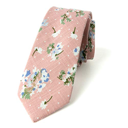 Spring Notion Men's Floral Print Cotton Skinny Tie, 18-Light Pink ()