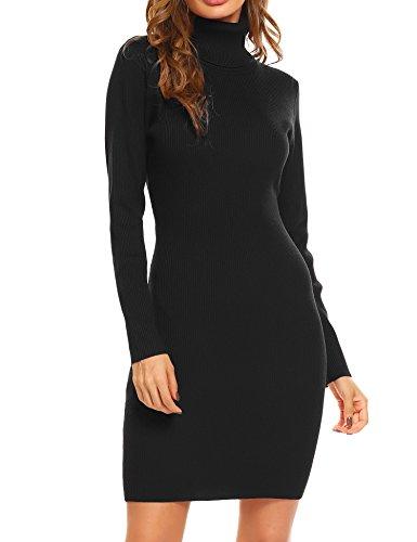 OD'lover Women Long Sleeve Turtleneck Knit Bodycon Sweater Mini Dress