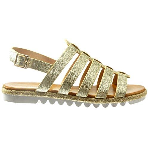 Sandalen Cm Gold Damen Keilabsatz zaum Espadrilles Römersandalen Angkorly 2 String Schuhe Tanga Multi TPEHxq