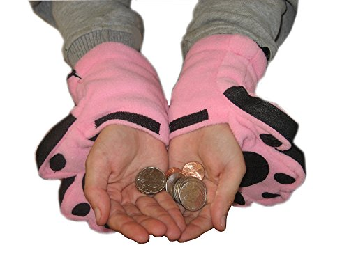Price comparison product image BearHands ThinsulateTM Fleece Mittens - with handy flap opening for when fingers are needed! (Child Small 3-7 years) - Light Pink