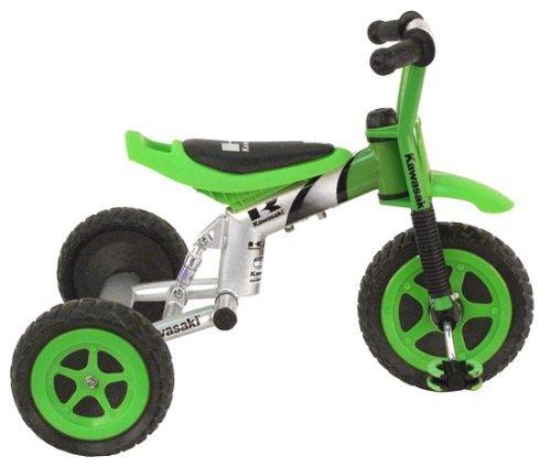- Kawasaki Tricycle, 10 inch Wheels, suspension forks, Boy's Trike, Green (Renewed)