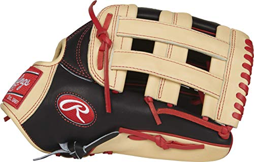 Rawlings PROBH34 Heart of The Hide Outfield Gameday Baseball Glove, Black/Camel, - Inch Outfield 12.75 Glove Baseball