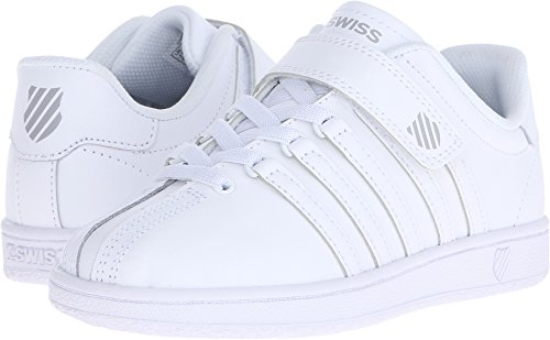 K-Swiss Kid's Classic VN VLC Shoe, White/White, 1 M US Little (Youth White Leather Kids Shoes)