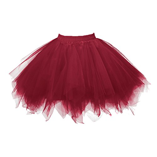 (Topdress Women's 1950s Vintage Tutu Petticoat Ballet Bubble Skirt (26 Colors) Dark Red)