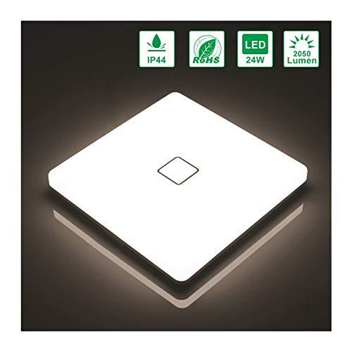 Öuesen Lámpara de techo LED 24W IP44 2050lm Plafón LED Moderno Blanco natural 4000K para Pasillo Salón Cocina Dormitorio Baños: Amazon.es: Iluminación