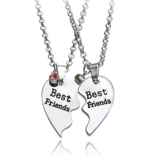 Friends Forever Heart - SIVITE Best Friends Forever and Ever Necklace with Crystal Broken Heart Charm Pendant Set Friendship Necklace (Best Friends (2 Pieces))