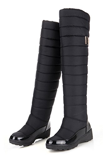 Aisun Womens Warm Comfort Ronde Neus Jurk Slip Op Wig Platform Lage Hakken Kniehoge Sneeuw Hoge Laarzen Schoenen Zwart