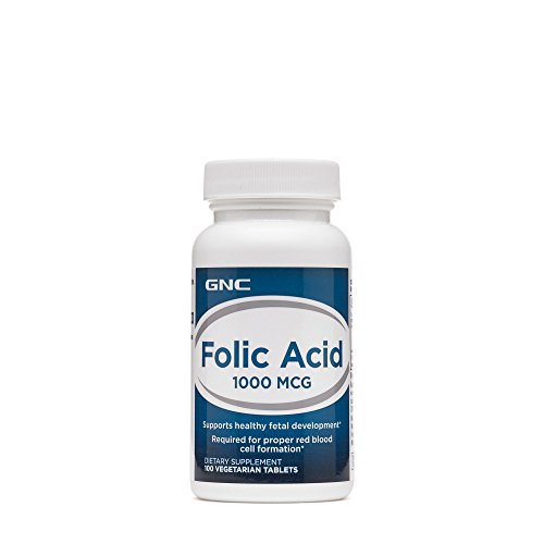 GNC Folic Acid 1000 MCG for Healthy Fetal Development - 100 Vegetarian ()