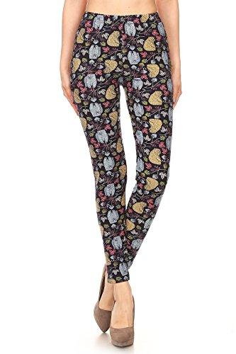 Women's PLUS Bears & Floral Pattern Printed Leggings - Halloween Costume