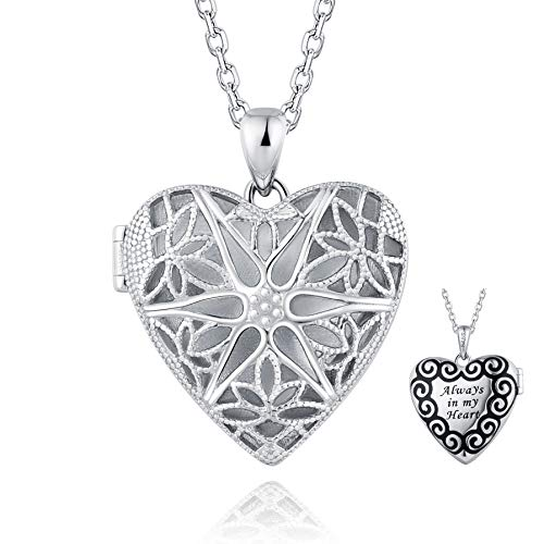 BEILIN Always in My Heart Sterling Silver Love Heart Locket Pendant Necklace for Women