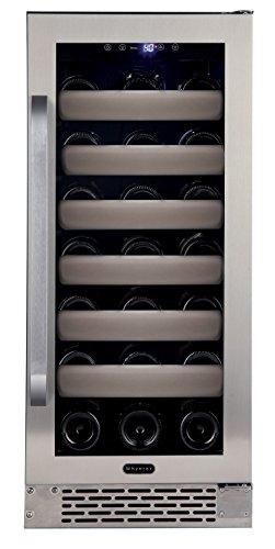 Whynter BWR-331SL Elite 33 Bottle Seamless Door Single Zone Built-in Wine Refrigerator, Stainless Steel/Black by Whynter