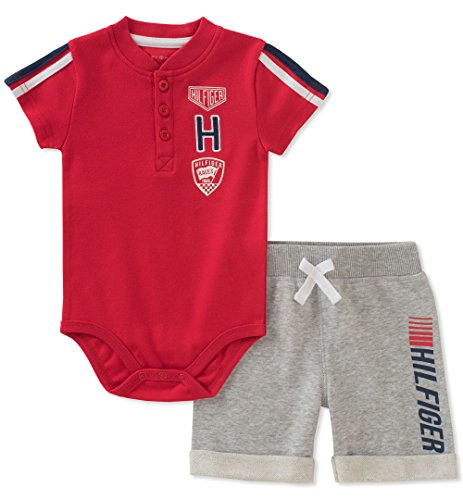 - Tommy Hilfiger Baby Boys 2 Pieces Creeper Shorts Set, red/Gray, 3-6 Months