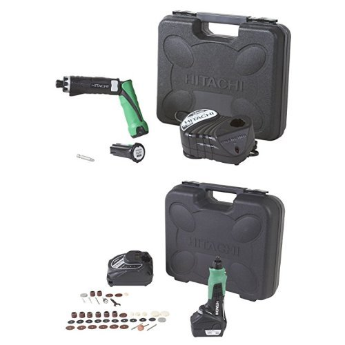 Hitachi DB3DL2 3.6V Lithium Ion Dual-Position Cordless Screwdriver (1.5Ah) + Hitachi GP10DL Cordless 12-Volt Peak Lithium-Ion Variable Speed Rotary Tool With 40-Piece Accessory Set