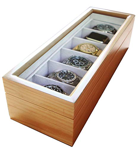 - Solid Light Wood Watch Box Organizer with Glass Display Top by Case Elegance