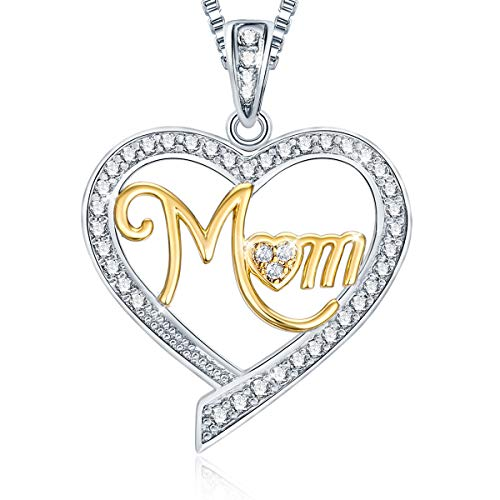 Ado Glo Mother's Birthday Gift 'Mom' Two Tone Love Heart Pendant Necklace, Fashion Jewelry for Women, Anniversary Present from Husband Children to Her ()