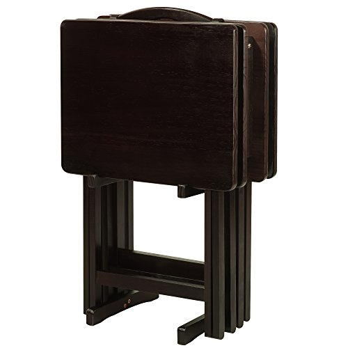 Wood 5 Piece Tv Tray (Casual Home 660-44 5-piece Tray Table Set-Espresso)