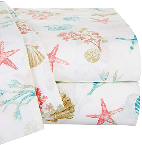 Panama Jack Sea Shore Sea Shell Sheet Set King White/Pink/Beige