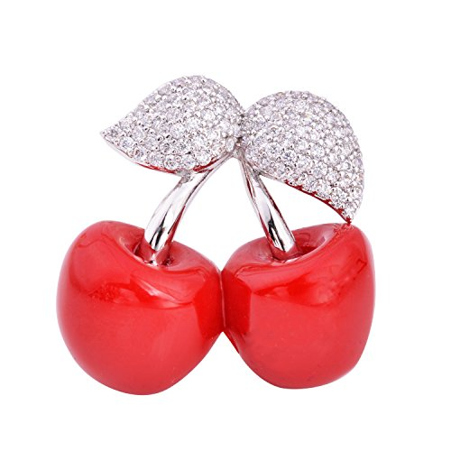 (OBONNIE Silver Tone CZ Leaf Red Double Cherry Brooch Pins Collar Pin For Women Girl)
