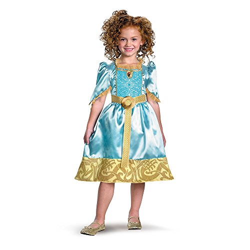 Brave Merida Classic Costume, Auqa/Gold, Small - Brave Merida Girls Costumes