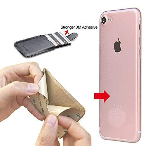 Phone Card Holder RFID Blocking Sleeve, Pu Leather Back Phone Wallet Stick-On Pull up 5 Card Holder Universally Pocket Covers Credit Cards Cash for iPhone/Android/Samsung/All Smartphones. (Rose) by Arokimi (Image #4)