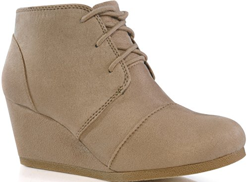 MARCOREPUBLIC Galaxy Womens Wedge Boots - (Taupe) - 10 by MARCOREPUBLIC (Image #1)'