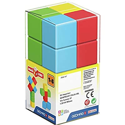 Geomag MAGICUBE Pre-School, 8 Magnetic Cubes for Creative Play, Kids Ages 1-5, Educational Construction Toys Set: Toys & Games