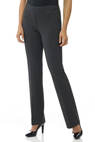 Rekucci Women's Secret Figure Pull-On Knit Bootcut Pant w/Tummy Control (12SHORT,DK Charcoal)