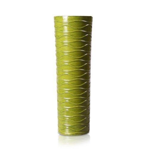 """Adeco Decorative Gloss Finish Horizontal Wave Design Wood Vase, Green, 14"""""""