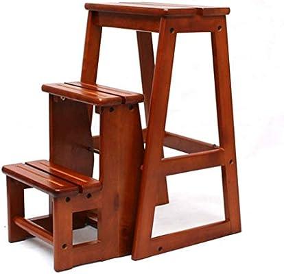 Escalera plegable taburete banqueta Escalera de 3 pasos, biblioteca de tiendas de hogar plegable portátil Escaleras de madera con escalones anchos, para adultos mayores, color nogal, carga 150 kg: Amazon.es: Bricolaje y